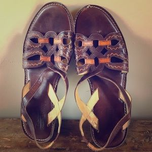 Pikolinos Brown Orange Leather Sandals Size 38